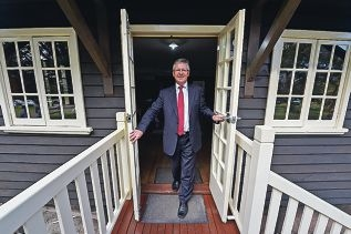 Housing Minister Bill Marmion inspects Saumarez Cottage at Fairbridge. |Picture: Jon Hewsond424110