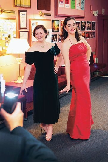 Performers Bree Hartley and Joanna Tyler in their glamorous attire.