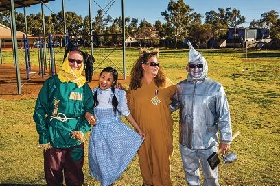 Peter Hodge and Becki Yu with Nat and Chris Sangalli. Inset: Their Wizard of Oz-themed car. Pictures: Ashley Pearce Images