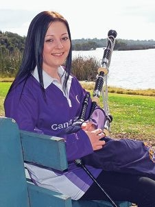 Cancer survivor Amelia Hewison has played the bagpipes at the WA Cancer Council Relay for Life event for the past seven years.