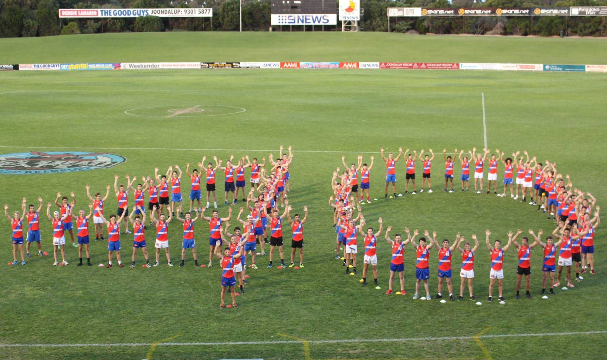 West Perth players wish the Times a happy birthday. Picture: Justin Bianchini