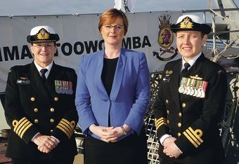 Captain Angela Bond (Commanding Officer HMAS Stirling), Senator Linda Reynolds and Commander Catherine Hayes, (Commanding Officer HMAS Toowoomba).