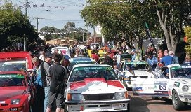 Haynes Street in Kalamunda is packed with spectators during the Targa Rally.