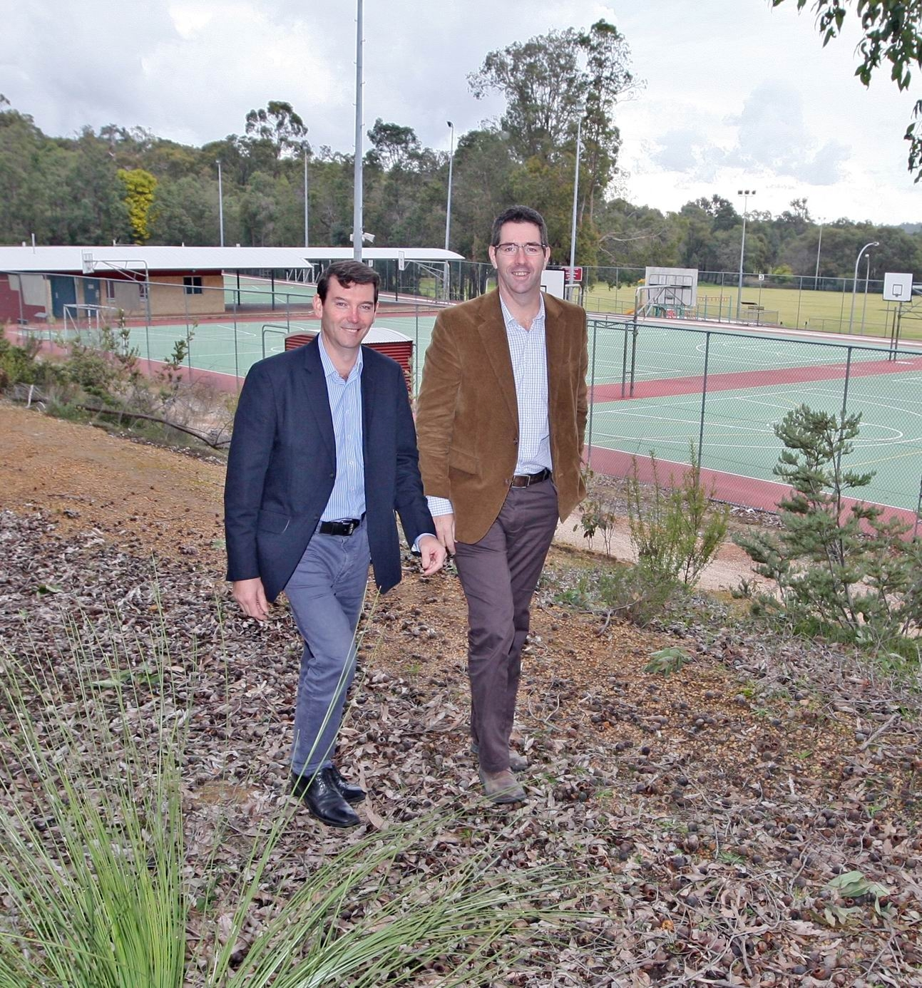 Cr Darrell Jones and Jonathan Throssell at the site of the new indoor recreation|facility . d423461