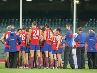 West Perth huddle for coach Bill Monaghan's instruction during their previous Foxtel Cup match. Picture: Dan White