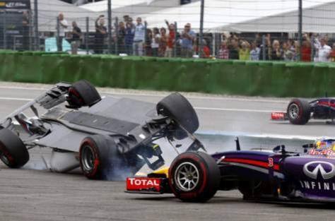 Daniel Ricciardo had to contend with Felipe Massa's upturned car at the first turn.