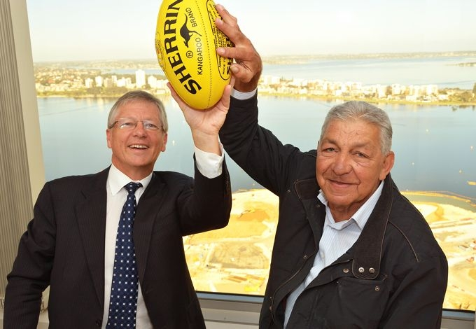 Housing Minister Bill Marmion and Bill Dempsey celebrate a fine career.