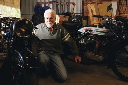 Vintage Motorcycle Club member Terry McKay with some of his bikes.