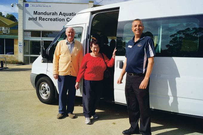 Bus driver Bruce Campbell, Letitia Shaw and MARC facility co-ordinator Adrian Timms.