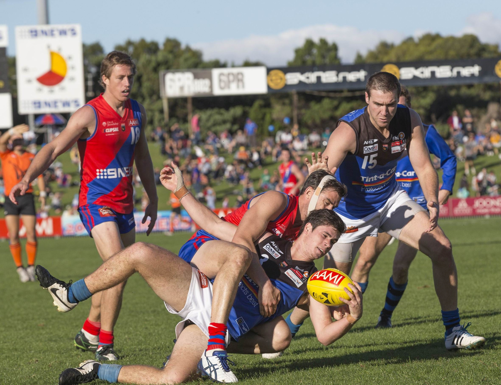 Dan Hunt tackles East Perth's Mitchell Fraser. Picture: Dan White.