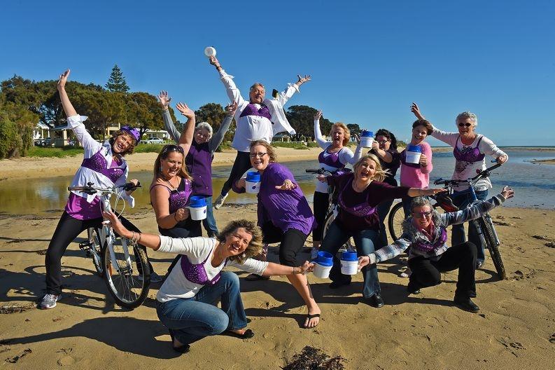 Cancer survivors unite for Purple Bra Day. Picture by Jon Hewson.