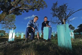 Alan Cransberg, of Alcoa Australia, and Brendan Foran, of Greening Australia. Picture: Jon Hewson www.communitypix.com.au d420546