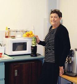 Maggie Cheetham in her kitchen.