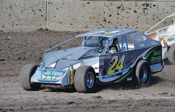 Racing Drivers' Association life member Peter Cox in his V8 dirt modified sedan.