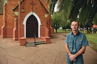Bassendean resident Gerry Coleman outside St Matthew's Church in Guildford. Picture: Marcus Whisson d420259