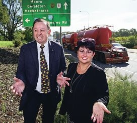 Frank Alban and Alyssa Hayden are seeking ideas for an appropriate name for the Perth to Darwin Highway. Picture: Bruce Hunt d420540