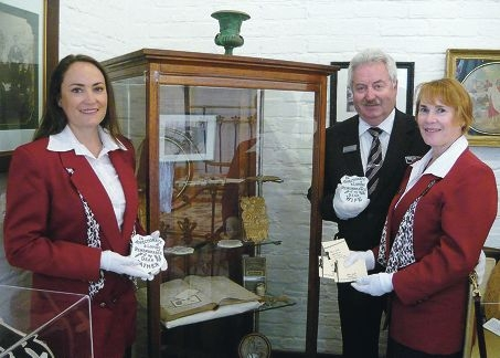Adene, Rob and Dianne Tinetti with some of the artefacts on display at the new exhibition at York Residency Museum.