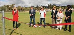Central Wheatbelt MLA Mia Davies and other stakeholders open the new York Hockey Club pitch.
