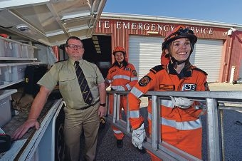 Volunteers Susan Casserly and Lauren Brown in uniform with rescue section leader Mark Booth. Picture: Jon Hewson d419396