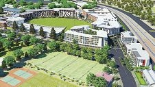 Claremont CEO Stephen Goode, LandCorp general manager Luke Willcock and Georgiou Capital executive director John Siamos. Below: An artist's impression of the development.