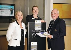 Event co-ordinator Paula Anderson, Commonwealth Bank |Joondalup branch manager Rhiannon Bloffwitch and Joondalup Business Association chief executive Clive Haddow.