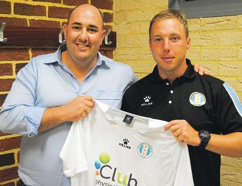 Ellenbrook United FC president Fonz Tenaglia (left) with new Irish head coach Sean Doyle.