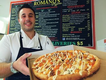 Laurance Romano's pizzas awards for the Best Pizza (WA) and Best Cheap Eats (WA) categories of the I Love Food Awards 2014.