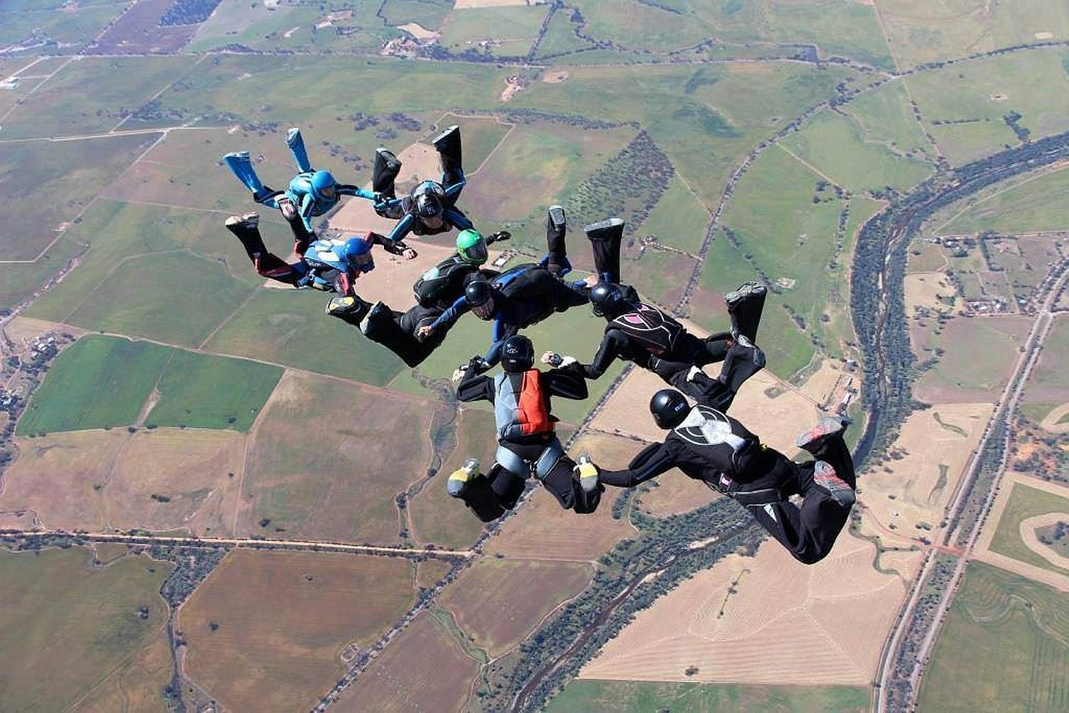 Competitors high above York at the Australian National Skydiving Championships.