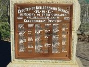 The monument to the fallen men of WWI (right) and (above) a close-up of the names of those from the Kellerberrin district who died during the war.