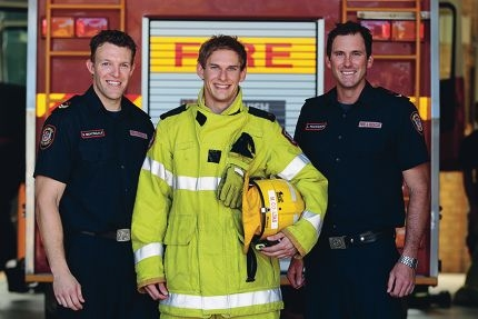 Bryn Nightingale, Mark Coultas and Lincoln Franceschi from Belmont Fire Station. Picture: Martin Kennealey www.communitypix.com.au d418314