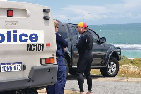Johnny Heesters talks to police on the day of the drowning. Picture: J Bianchini