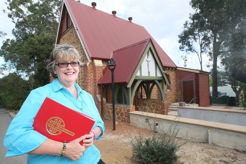 Wendy Gilbert outside the 100-year-old Mundaring Anglican Church. |Picture: Bruce Hunt www.communitypix.com.au d 418278