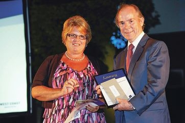 Becky Grame with the Aboriginal Student of the Year award sponsor Mike Allen from Yanchep Beach Joint Venture.