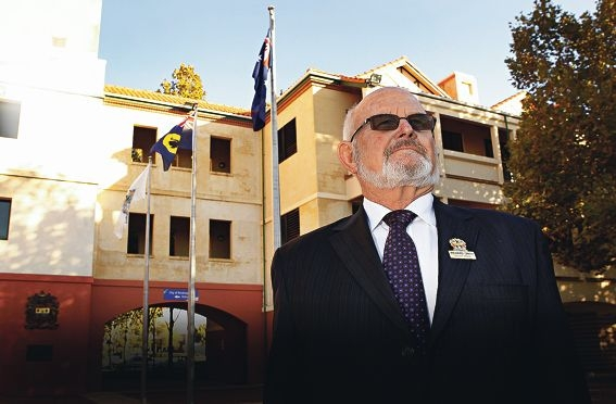 City of Rockingham deputy Mayor Richard Smith in front of the City's flagpoles. Picture: Elle Borgward www.communitypix.com.au d417783