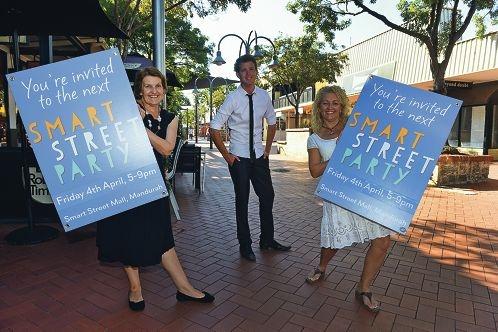 Deidre Robb, Rhys Williams and Karen Lyons prepare for the Smart Street Party. Picture: Jon Hewson d417676