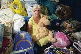 Margaret Laundy is holding a huge garage sale to raise money for typhoon and earthquake victims. www.communitypix.com.au d417096