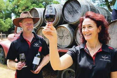 Robbie and Theresa Marshall from Swanbrook Winery and Cafe. Picture: Bruce Hunt www.communitypix.com.au d415630