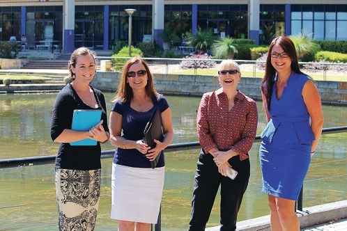 West Coast Institute's Shannon Crowe, City of Joondalup's Claire Creamer, Michelle Hoad of West Coast Institute and Sonja Cox of the Department of Corrective Services gather ahead of this month's Women in Leadership Forum.