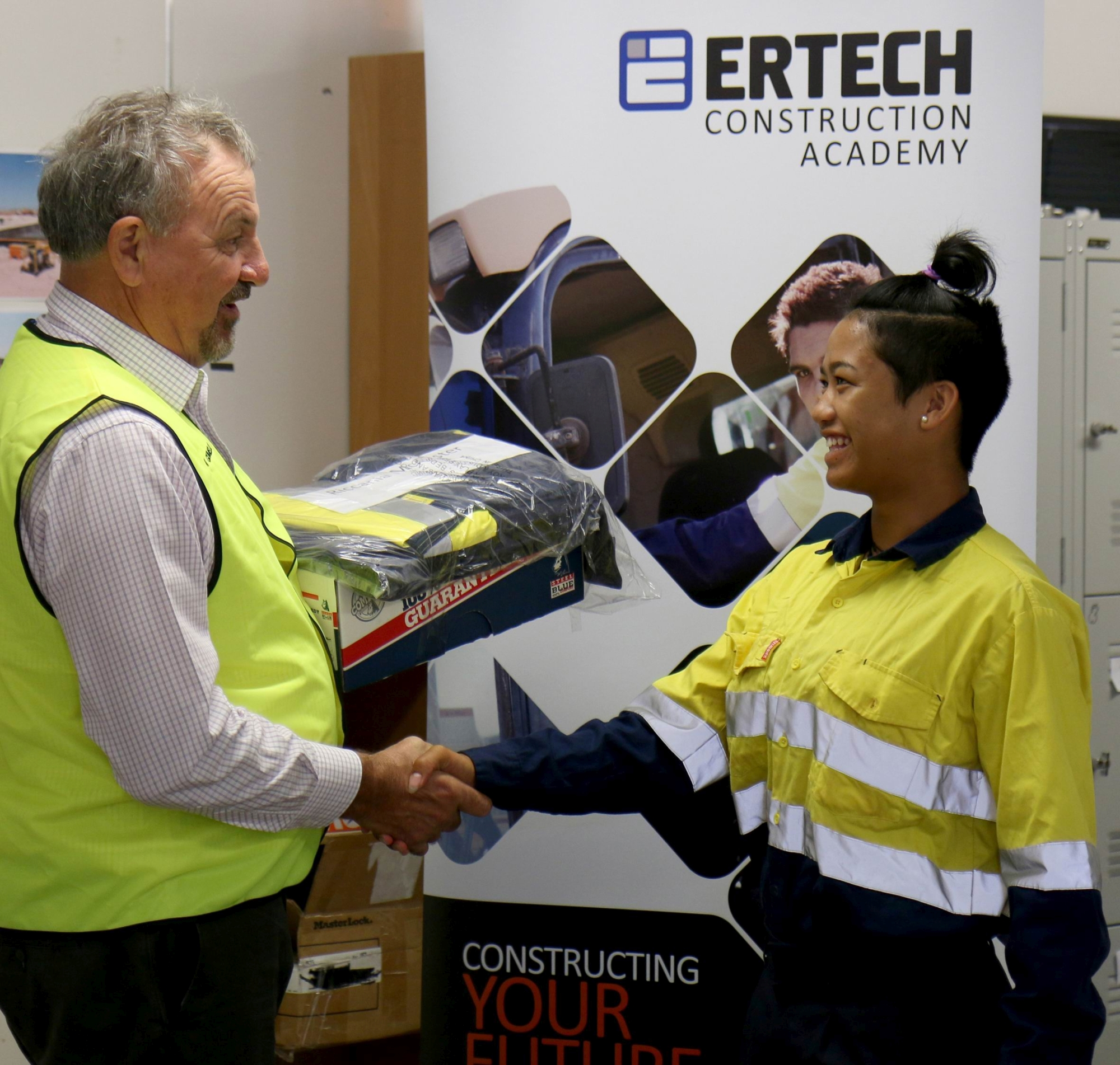 Ricci-Rose McAlister, of Irene McCormack Catholic College, with Ertech's Jim Giumelli.