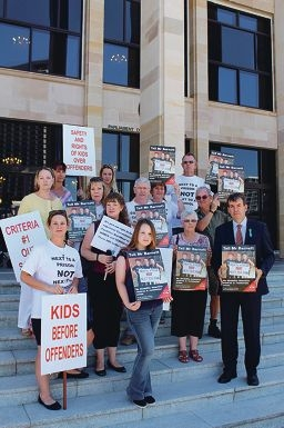 Residents and Bassendean MLA Dave Kelly picket on the steps of Parliament House in protest to the State Government's disability justice centres to be built in Kiara and Caversham.