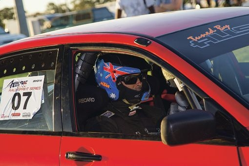Troy Wilson in action in his Evo VII.