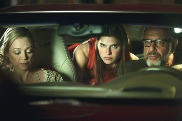 Lake Bell (centre) with In a World… co-stars Alexandra Holden (left) and Fred Melamed (right).