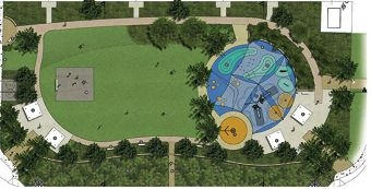 Sydenham Street Reserve master plan shows a shaded playground, shelters, gardens and multi-sports court.