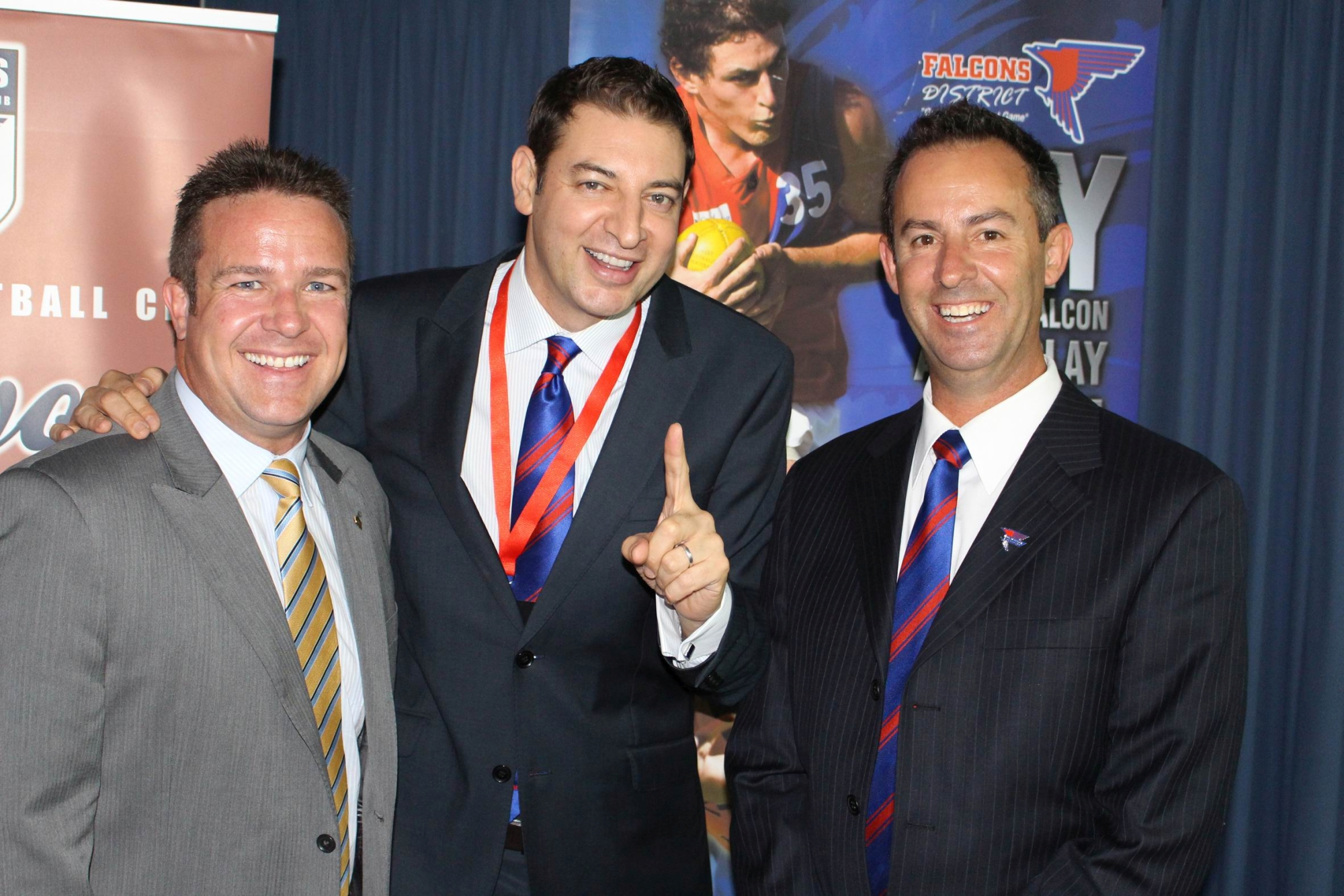 Joondalup Mayor Troy Pickard, Basil Zempilas and West Perth president Brett Raponi.