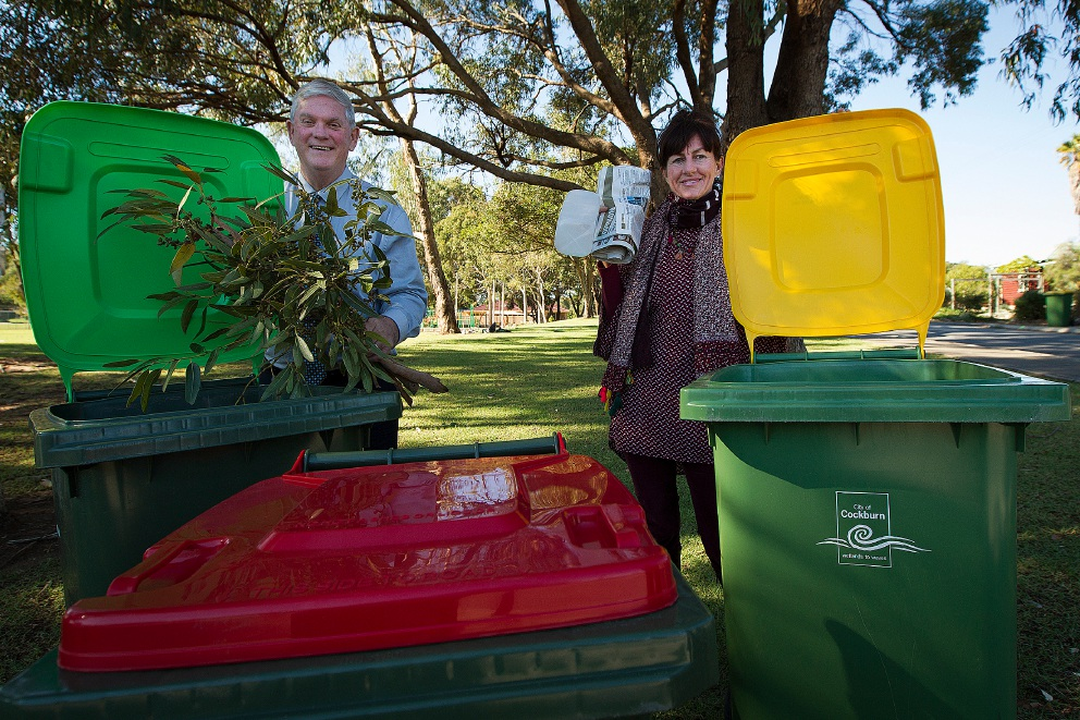 Cockburn Mayor Logan Howlett and Hamilton Hill resident Roberta Leary with the new bins. Picture: Will Russell        d439800