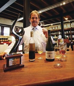 Charlie Zannino with the award at Sandalford's Winery in the Swan Valley.
