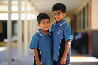 Brainy brothers: Jeremiah (4) and Isaac Bhalsod (6) have been inducted into elite club Mensa. Picture: Marcus Whisson www.communitypix.com.au d415390