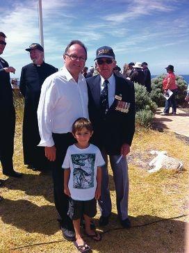 Ken Adams with Mandurah MLA David Templeman and son Jack.