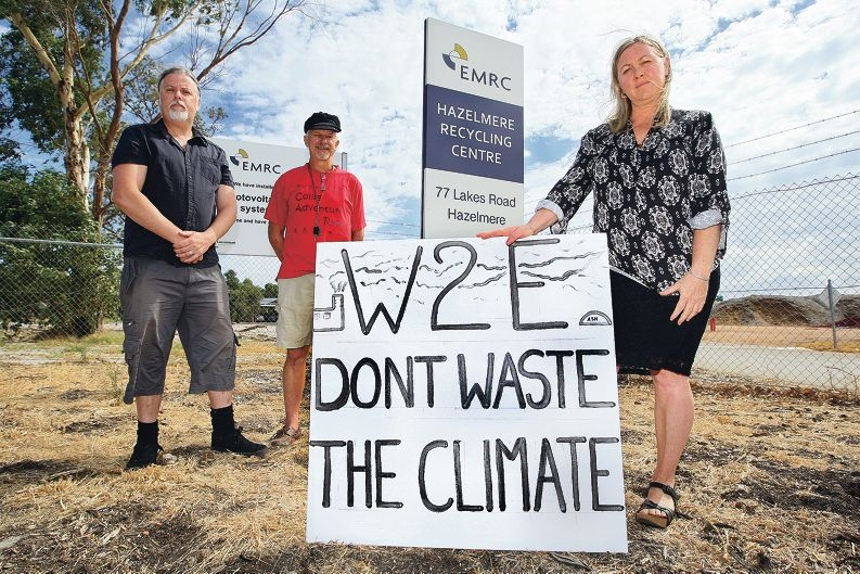 Lee Bell, Pat Irwin and Jane Bremmer are protesting the EMRC's plan to develop a wood waste-to-|energy plant in Hazelmere. Picture: Bruce Hunt www.communitypix.com.au d415236