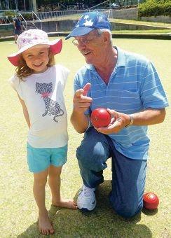 Xanthe with Glen Forrest Bowls secretary Jim Henderson.